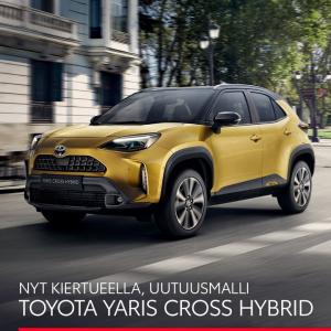Uutuusmalli Toyota Yaris Cross Hybrid on nähtävillä liikkeessämme kesän aikana!  Kiertuepäivät: JOENSUU 6.7., IISALMI 8.7., ÄÄNE...