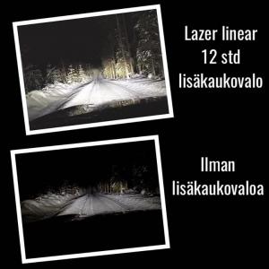 Kuvissa sama paikka ja sama auto joka on varustettu led-ajovaloin. Ensimmäisessä kuvassa autossa on päällä Lazer linear 12 std lisäkaukovalo. Tämä valosarja kilpitelineellä ja katkaisijalla asennettuna NYT 610€ henkilöautoihin. Kysy lisää O.K. Autosta!