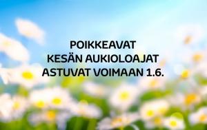 O.K. Auton pisteet siirtyvät kesäaukioloihin 1.6. alkaen! Kaikki toimipisteet palvelevat kesällä arkisin klo 9–17. Kesälauantaisin klo 10–14 palvelevat Jyväskylän, Kouvolan ja Joensuun pisteet. Muut pisteet ovat lauantaisin suljettuna. Normaali palveluaikoihin palataan taas 24.8.